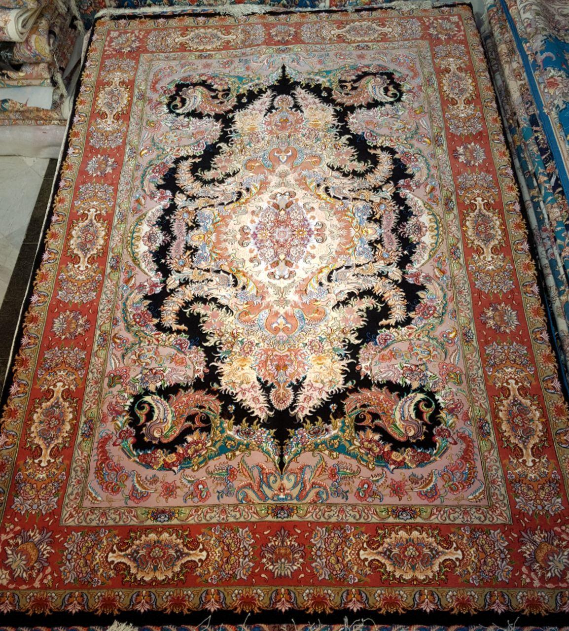 فرش جفت 6 متری و 9 متری دستباف چله و گل ابریشم تصویر